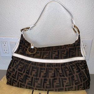 Authentic fendi zucca mama shoulder tote hobo bag